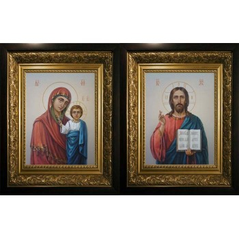 Вінчальна пара писаних ікон Спаситель і Божа Матір (сч-08)