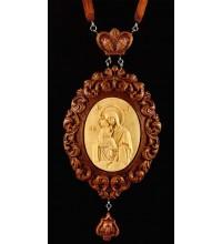Панагия Почаевская Божья Матерь, из красного дерева (Rev-p-04)