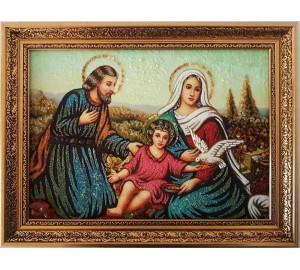 Cвятое семейство - картина из янтаря, ручной работы (RB-51)