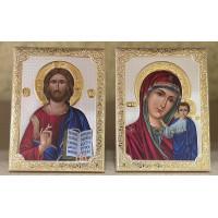Венчальная пара икон Иисус Христос и Казанская Божья Матерь (SA-001)