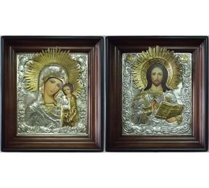 Иконы на свадьбу в окладе с серебром и позолотой Господь и Казанская Богородица (Хм-29)